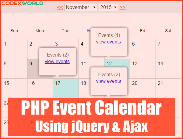 Build an event calendar using jquery ajax and php for Table design using jquery