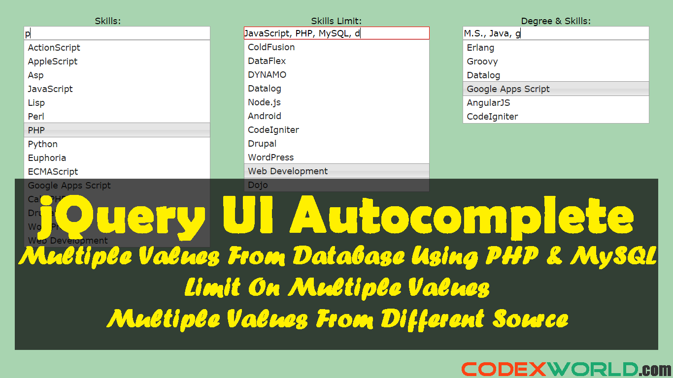 Autocomplete textbox with multiple values using jquery php and autocomplete textbox with multiple values using jquery php and mysql codexworld gamestrikefo Gallery