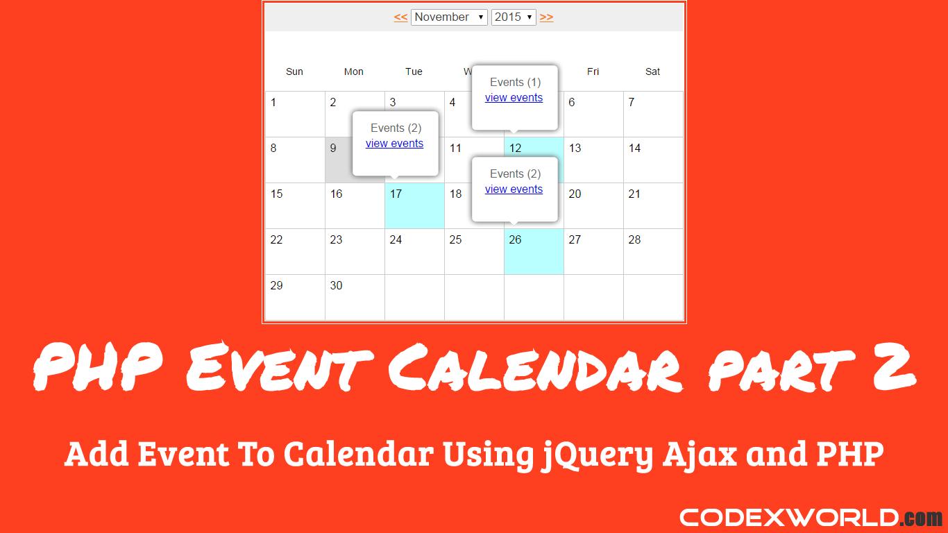 Editable Calendar Using Jquery : Add event to calendar using jquery ajax and php codexworld