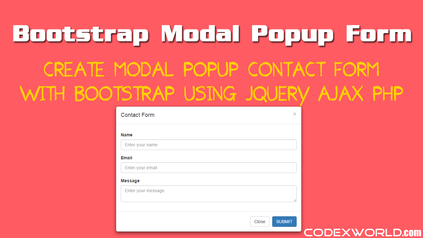 Bootstrap Modal Popup Form Submit With Ajax Amp Php Codexworld