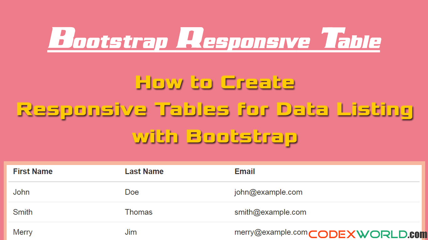 Bootstrap responsive table for data listing codexworld for Bootstrap table class