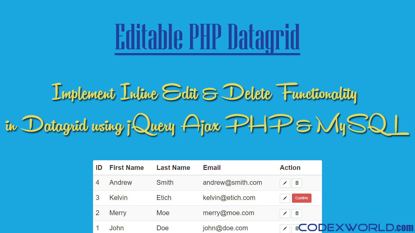 Inline Table Editing using jQuery Ajax PHP and MySQL
